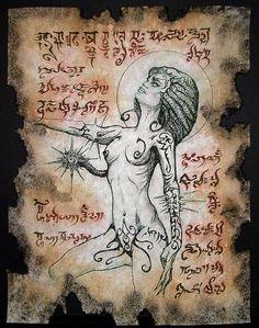 ML NITOCRIS succubus Necronomicon page occult demon magick dark spirit vampire horror