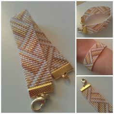 loom pattern bracelet with ribbon clasps attached. Loom Bracelet Patterns, Seed Bead Patterns, Bead Loom Bracelets, Weaving Patterns, Jewelry Patterns, Pandora Bracelets, Bead Jewellery, Seed Bead Jewelry, Bead Loom Designs