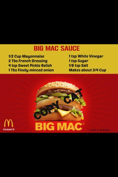 Big Mac sauce: -use chopped up dill pickle not sweet relish -forget the vinegar, and sugar -Now its perfect!