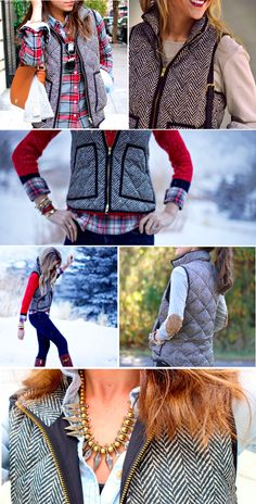 Herringbone Vest! I love all these outfits and the vest!