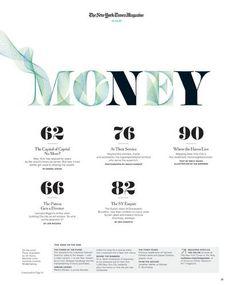New York Times magazine, Money Editorial Design Layouts, Graphic Design Layouts, Graphic Design Inspiration, Magazine Cover Layout, Magazine Layout Design, Magazine Layouts, Dissertation Layout, Table Of Contents Design, New York Times Magazine