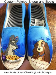Disney's Lady and the Tramp Painted Shoes - If interested in having a custom pair painted, please visit my shop at www.etsy.com/shop/paintedsoleshoes