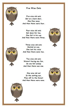 69 Ideas Baby Animals Kindergarten Activities Owl Crafts - Cari Rutledge - 69 Id. 69 Ideas Baby An Owl Preschool, Preschool Poems, Nursery Rhymes Preschool, Preschool Music, Numbers Preschool, Preschool Learning, Early Learning, Owl Activities, Kindergarten Activities