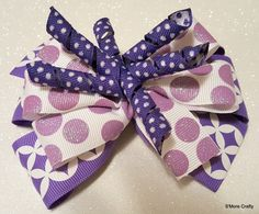 Big Purple Triple Layer Purple & White Boutique Hair Bow , Ribbon Hair Clip, Girls Barrette Lavender Grape Sugar Dots Sparkly Korkers Korker by SmoreCrafty on Etsy
