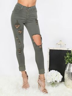 Online shopping for Highwaist Distressed Cuffed Pants OLIVE from a great selection of women's fashion clothing & more at MakeMeChic.COM.