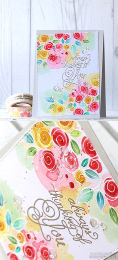 RejoicingCrafts: Watercolor Flower Card with Simon Says Stamp You Have My Heart goodies.