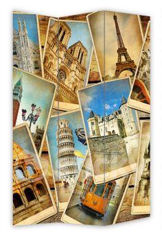 Folding Screen VINTAGE TRAVEL by Sticky!!!