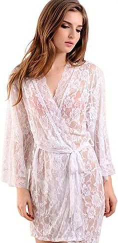 Queen.M Floral Lace See Through Sexy Bathrobe Set Elegant Sleepwear Robe Shirt