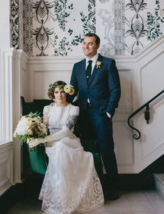 If you're going to do formal portraits, throwbacks like this are the way to do it. // 60's-Inspired Smog Shoppe Wedding: Shannon + Nick | Green Wedding Shoes Wedding Blog | Wedding Trends for Stylish + Creative Brides