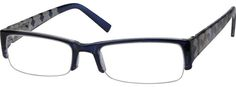 Men's Blue 2362 Half Rim Plastic Frame With Spring Hinges | Zenni Optical Glasses-ULrBbxcN