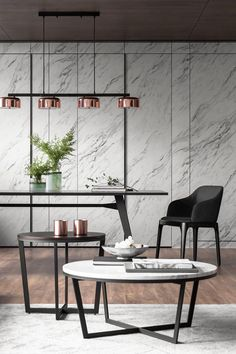 Contemporary dining and sitting area in gray scale with copper accents