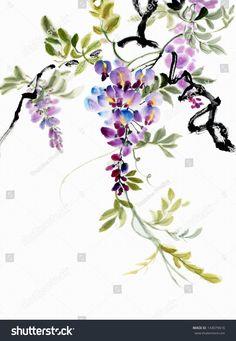 ORIGINAL искусства, акварельная живопись глициния цветет, Азиатский стиль живописи