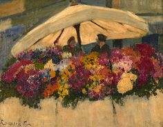 Flower Markets with White Umbrella - Ethel Carrick - WikiArt.org