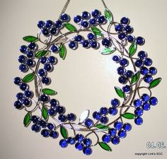 Stained Glass Blue Berry Wreath window hanging