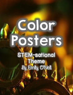 Posters for all colors in a STEM theme! These are posters for each color of the rainbow (red, orange, yellow, green, blue, purple, pink, brown, gray, black and white) in English and Spanish.