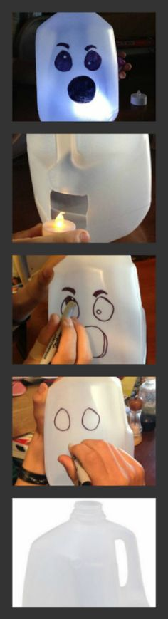Looking for Halloween party ideas? Try these homemade Halloween props - Milk Jug ghosts. They're frugal, fun and you won't have to go out and buy anything!