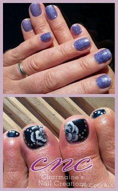 Hands feet shellac lecente glitter freehand flowers