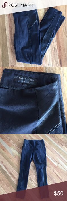 Rag and bone leggings Soft stretchy cotton leggings with eco leather details on the sides and at the waist. Zip back,  medium to high waisted. Cute zippers at the bottom back. Nicely worn in fade rag & bone Pants Leggings