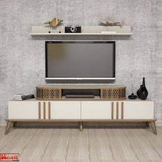 Comoda Tv Eylul cu Raft - Crem White Tv, Tv Unit, Timeless Design, Studio, Living Spaces, Entertaining, Contemporary, Furniture, Home