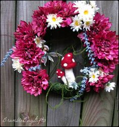 Fairy Wreath Needle Felted Mushroom WreathToadstool Wreath Mossy Enchanted Forest Woodland Magic Pixie Fae Faerie Faery Wreath Fairy Decor by BrambleBugGifts