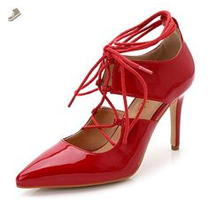 f43f70f81cb Aisun Women s Sexy Patent Leather Cutout Pointed Toe High Heel Gilly Tie Up  Gladiator Ankle Wrap Dress Pumps Party Stiletto Shoes Red 9 B(M) US  ( Partner ...