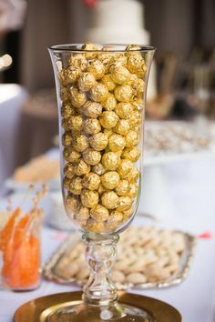 Ferrero Rocher Chocolates in Vase | Buffet Sweet Table | Wedding Dessert Table | Maggie & Kevin Knight Wedding | Julina Marie Photography