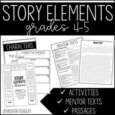 Story Elements {Posters, Passages, and Task Cards} by Jennifer Findley Story Elements Posters, Story Elements Activities, Comprehension Strategies, Reading Comprehension, Digital Story, Teaching Themes, Third Grade Reading, Story Structure, Authors Purpose