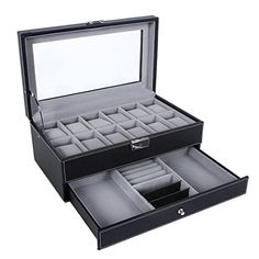 SONGMICS Black Watch Box 12 Mens Watch Organizer Jewelry Display Case Faux Leather Drawer  Lock UJWB012 -- Want additional info? Click on the image.