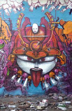 Samurai styled Street Art. Artist, date, and city unknown.