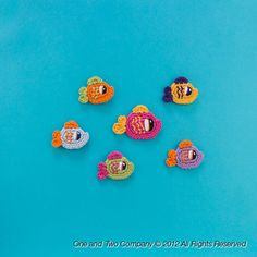 New PDF Crochet Pattern - Happy Fishes (2 sizes) Applique - Text instructions and SYMBOL CHART instructions. $3.75, via Etsy.