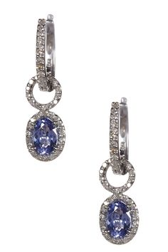 Effy 14K White Gold Tanzanite & White Diamond Dangle Earrings