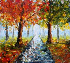 Easy Canvas Art | Landscape Oil Painting Autumn Nature 145 By Valery Rybakow Painting