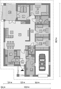 Projekt domu Murator M132 Wariantowy 128,2 m2 - koszt budowy - EXTRADOM Small House Plans, House Floor Plans, Home Projects, Bungalow, House Design, Flooring, How To Plan, Magnolia, Houses