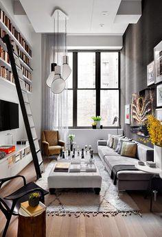 Un apartamento de doble altura en gris y amarillo · A grey and yellow apartment (via Bloglovin.com )