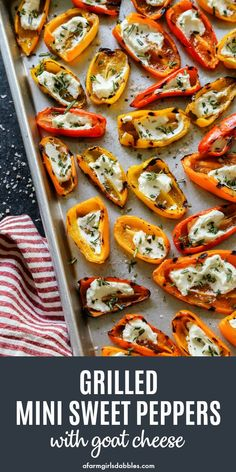grilling recipes Grilled Mini Sweet Peppers with Goat Cheese - where little peppers are grilled until softened and charred, and then filled with tangy goat cheese. A sprinkling of fre Goat Cheese Recipes, Veggie Recipes, Appetizer Recipes, Vegetarian Recipes, Cooking Recipes, Party Appetizers, Best Grill Recipes, Appetizers With Goat Cheese, Grilled Zucchini Recipes