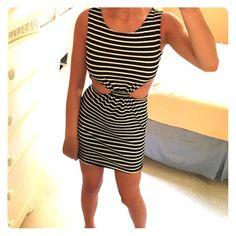 Black and white cutout dress! Super cute! Black and white stripes with cutouts! Size small. Dresses Mini