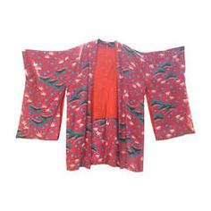 Exotic Japanese Floral Butterfly Crepe Kimono c 1950