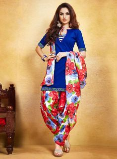 Buy Navy Blue Cotton Patiala Suit 85938 online at lowest price from huge collection of salwar kameez at Indianclothstore.com.