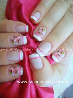 Unhas decoradas French Tip Nails, Flower Nails, Manicure And Pedicure, Nails Inspiration, Nail Designs, Hair Beauty, Make Up, Nail Art, Margarita