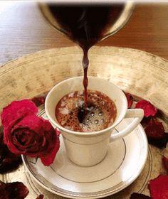 Turkish Coffee With Chocolate - Coffee Beans Tree - - - Coffee Menu Illustration - Coffee Tea Thoughts Coffee Gif, Coffee Images, Coffee Latte, I Love Coffee, Coffee Quotes, Coffee Break, Coffee Menu, Gif Café, Good Morning Coffee