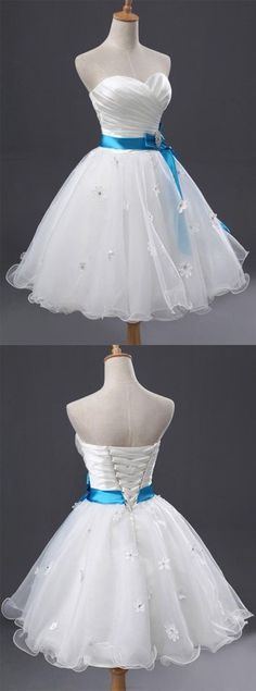 White Prom Dresses 2017, Prom Dresses 2017, Short Prom Dresses, White Prom Dresses, 2017 Prom Dresses, Prom Dresses Short, White Short Prom Dresses, Prom Dresses White, White Homecoming Dresses, Tulle Prom Dresses, Homecoming Dresses 2017, Short Party Dresses, 2017 Homecoming Dress White Tulle Sweetheart Short Prom Dress Party Dress