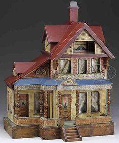 Bliss Rufus Puppenhäuser Puppenhaus lithografiert mit drei Geschossen