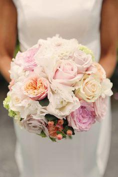 Bridal Bouquet - Pretty Pastel Colour Scheme.  #wedding #flowers #pastel #roses #bouquet