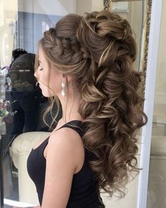50 Attractive Wedding Hairstyles for Long Hair – Hair Styles Bride Hairstyles For Long Hair, Quince Hairstyles, Easy Updos For Medium Hair, Medium Hair Styles, Braided Hairstyles, Short Hair Styles, Hair Updo, Hairstyle Wedding, Hairstyle Braid