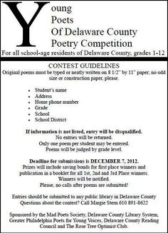 Young Poets of Delaware County is a annual contest sponsored by the libraries of Delco. Poetry Competitions, Delaware County, All Schools, Construction Paper, School District, High School Students, Grade 1, Libraries, Poems