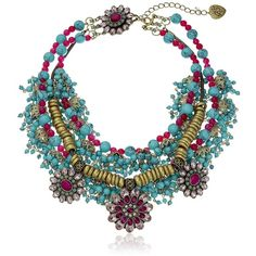 "Betsey Johnson ""Boho Betsey"" Semiprecious Turquoise Bead and Mixed... ($195) ❤ liked on Polyvore featuring jewelry, necklaces, boho necklace, multicolor statement necklace, bib statement necklace, colorful statement necklace and colorful bead necklace"