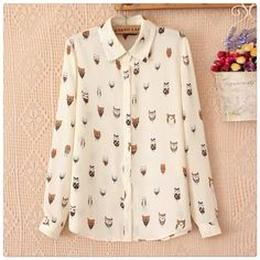 3X HPLong-Sleeve Blouse with cute owls print. Trendy chiffon blouse. The color is creamy with cute owls. Price firm, at least bundle. Tops Blouses