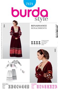 Purchase Burda 7171 Misses Costume and read its pattern reviews. Find other Dresses, Costumes,  sewing patterns.