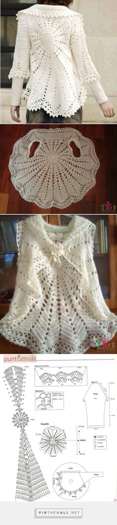 Crochet Lace Round Bolero/Jacket with Sleeves ~~ http://crochet103.blogspot.com/2014/01/bolero-jacket.html