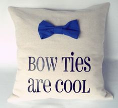 "For the Doctor Who Fan: Doctor Who Pillow Throw ""Bow Ties are Cool"". Great gift idea for her."